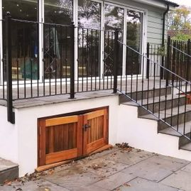 Wrought iron railings and hand rail
